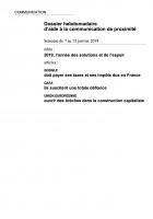 Dossier hebdomadaire d'aide à la communication de proximité. Semaine du 7 au 13 janvier 2019