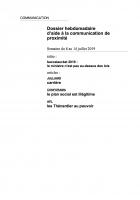 Dossier hebdomadaire d'aide à la communication de proximité. Semaine du 8 au 14 juillet 2019