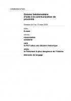 Dossier hebdomadaire d'aide à la communication de proximité. Semaine du 9 au 15 mars 2020