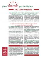 Plan d'urgence pour les Hôpitaux. 100.000 emplois !