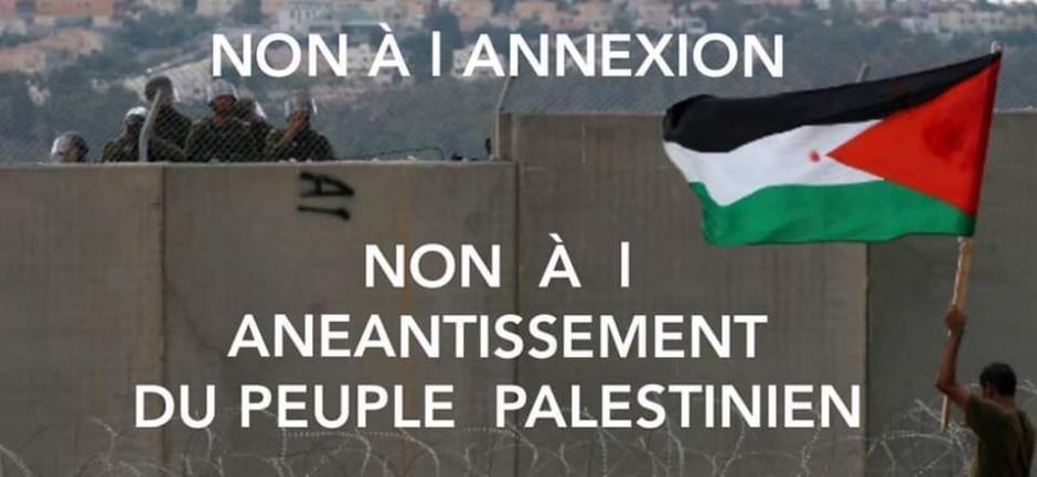 Non à l'annexion de la Palestine. Rassemblement