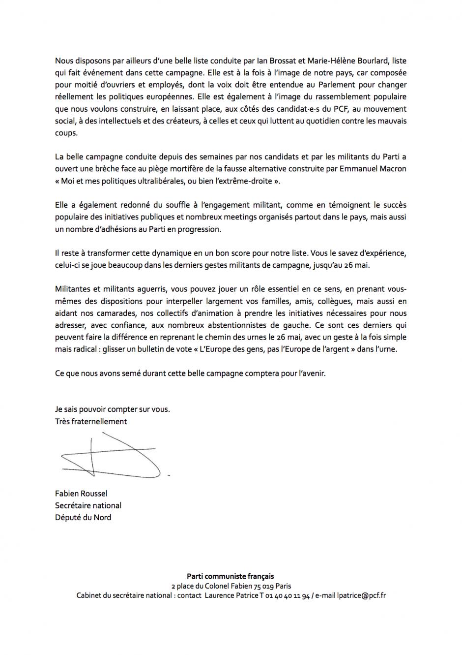 Lettre de Fabien Roussel aux vétérans