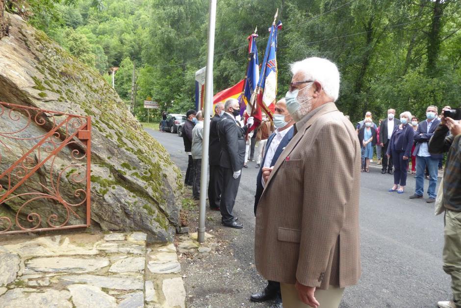 Valmanya. Intervention de Georges Sentis lors de l'hommage rendu aux combattants de la résistance