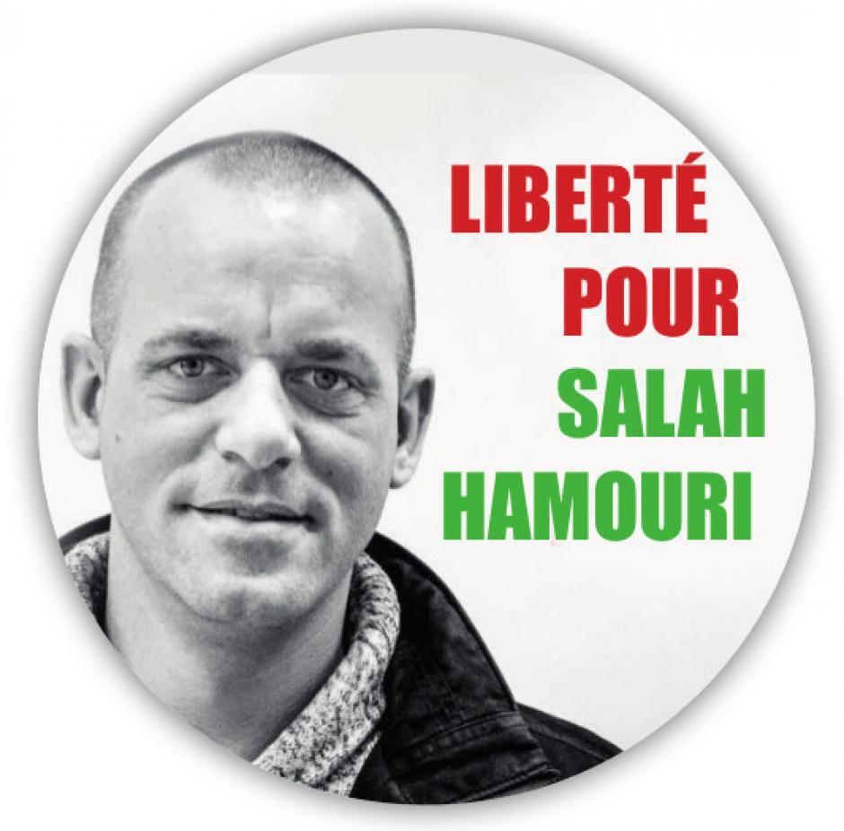 Affichage du portrait de Salah Hamouri. La CGT66 et l'AFPS66 communiquent
