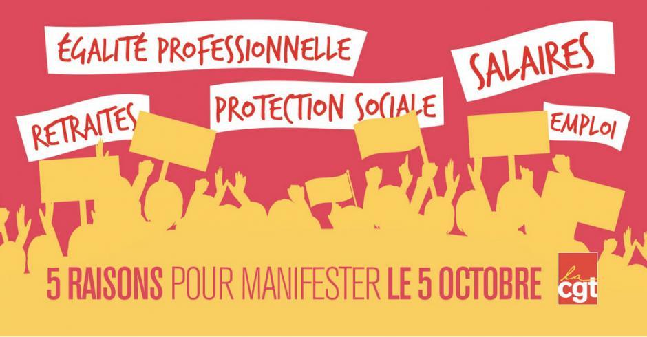 Le 5 octobre, mobilisé-e-s pour les salaires, les emplois et les conditions de travail et d'études !