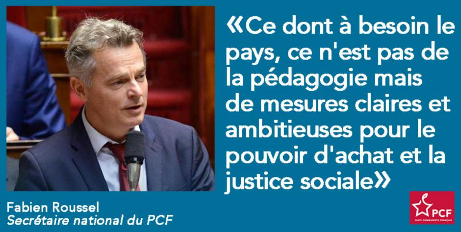Réaction de Fabien Roussel au discours d'Emmanuel Macron