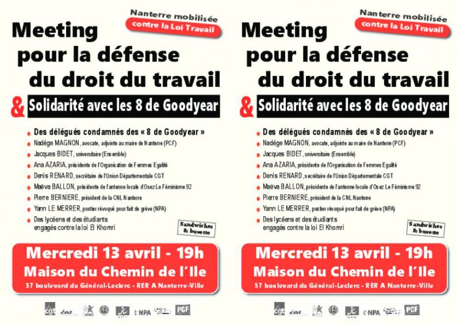 5aa2c1b9cc6 Meeting pour la défense du droit du travail le mercredi 13 avril