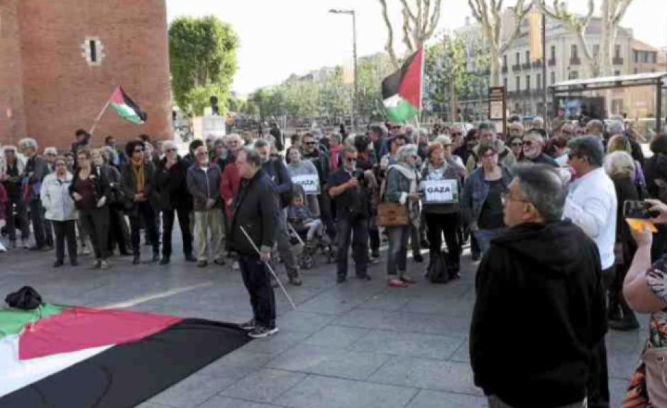 Solidarité avec Gaza au pied du Castillet