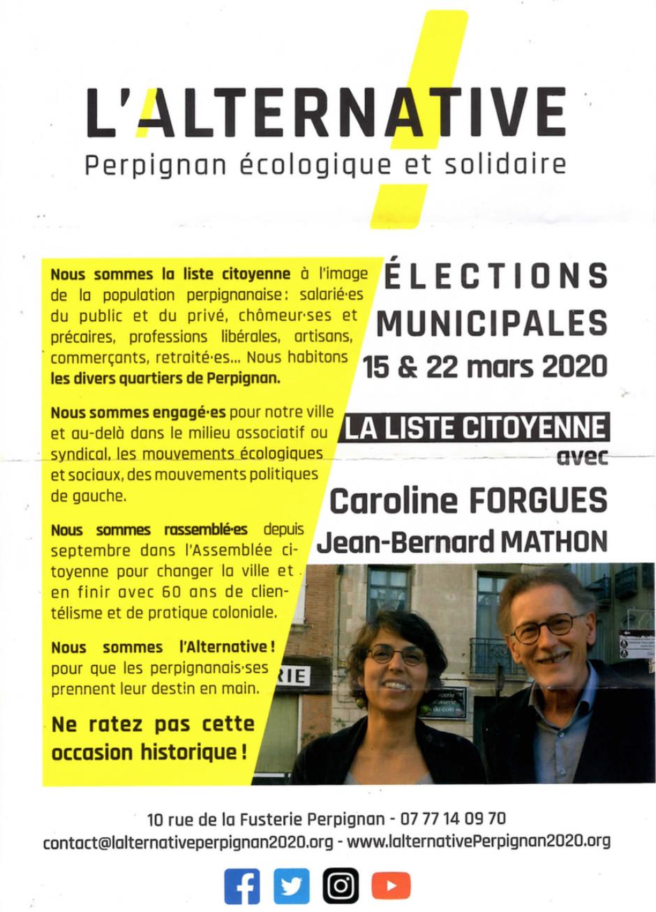 Municipales à Perpignan. Meeting de la liste L'Alternative !