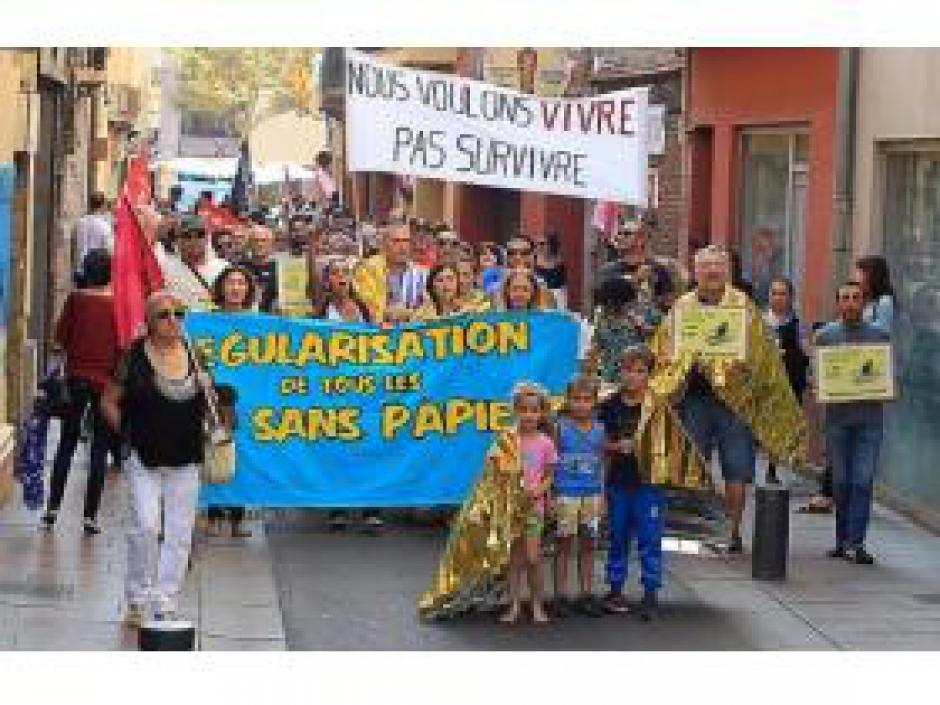 Protestation contre l'expulsion illégale des réfugié.e.s