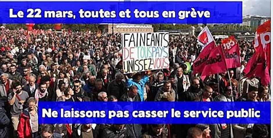 Rassemblement et manifestation. Non à la casse du Service public