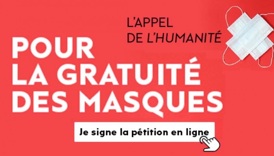 L'appel du journal l'Humanité pour la gratuité des masques