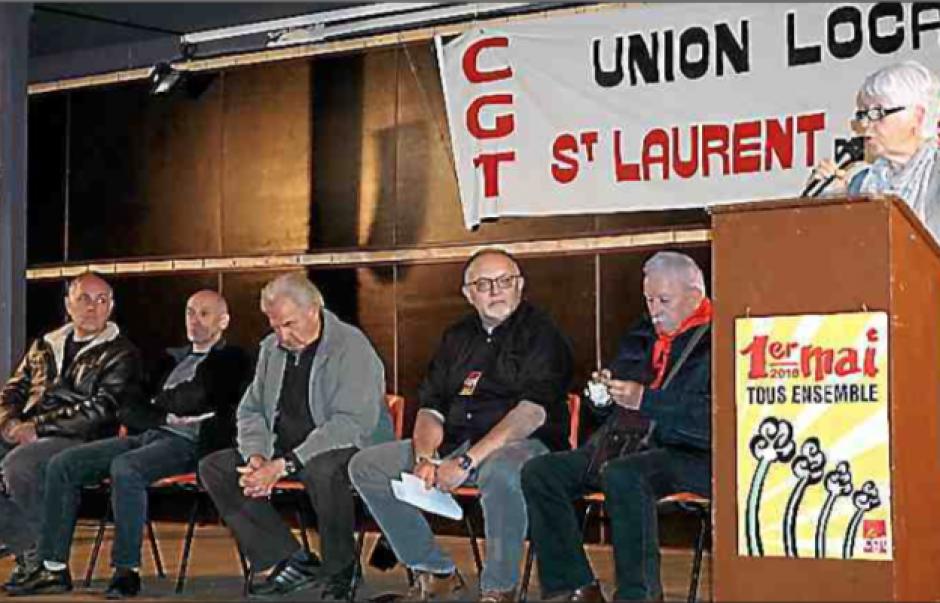 1er mai à St-Laurent-de-Cerdan. Mai 68 en fond