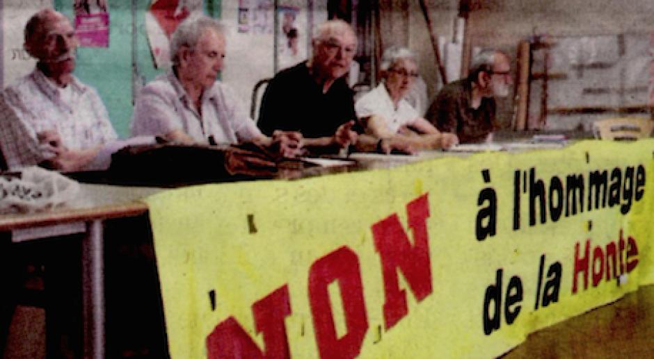 Stèle de l'OAS. « Non à l'hommage de la honte »