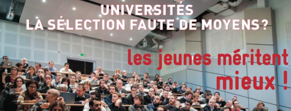 Université, la sélection faute de moyens ? Les jeunes méritent mieux !