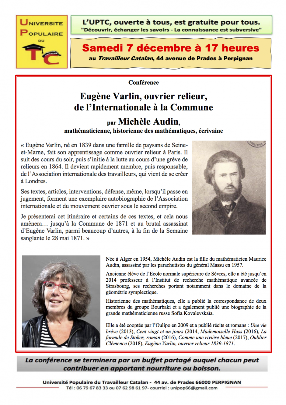 UPTC. Eugène Varlin, ouvrier relieur, de l'Internationale à la Commune