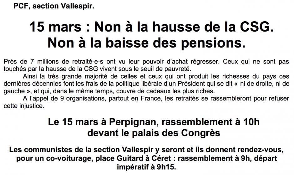 Les communistes du Vallespir organisent un co-voiturage pour se rendre au rassemblement de Perpignan
