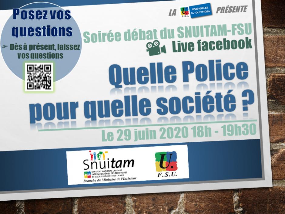 Soirée-débat du SNUITAM-FSU. Quelle police pour quelle société