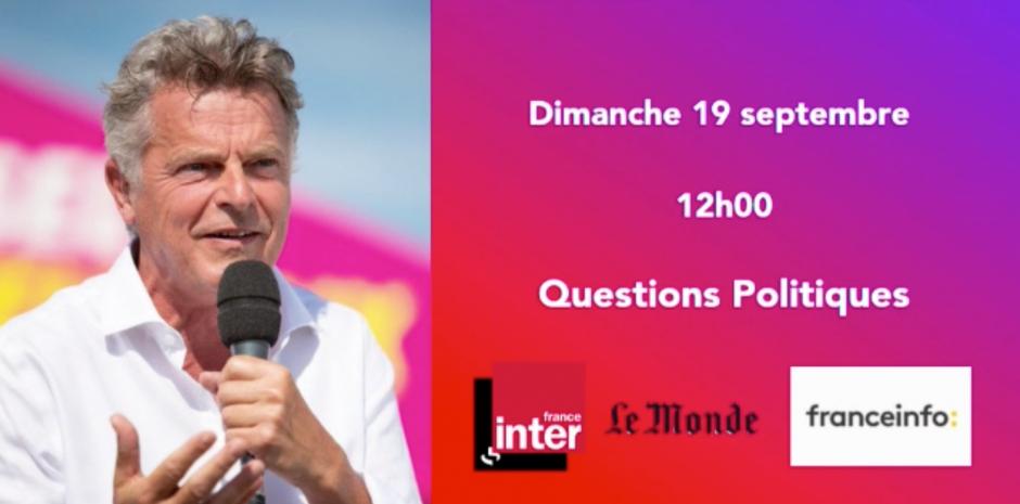 Fabien Roussel invité des Question Politiques sur France Inter/France info avec Le Monde